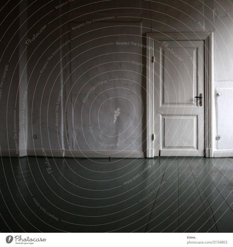 Back then Living or residing Room Hallway Door Doorframe White Wooden floor Half-timbered facade Old Historic Original Clean Caution Serene Patient Calm