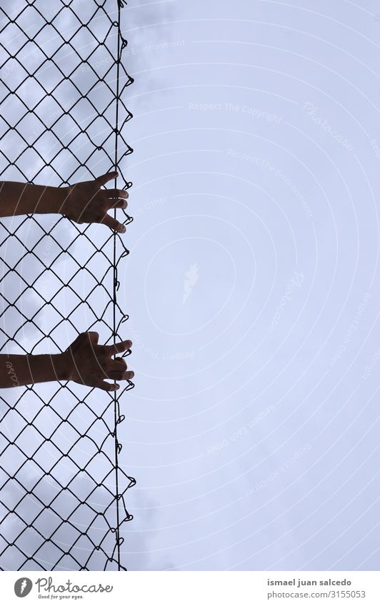 man grabbing a metallic fence Hand Fence Wire Safety (feeling of) Metal Protection Man Human being Fingers body part Arm Steel Street Exterior shot Freedom