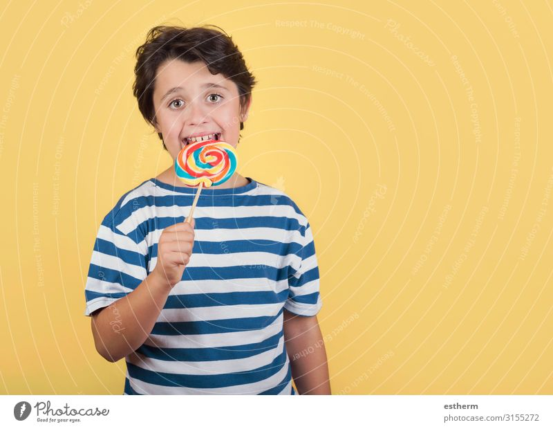 funny child with lollipop Food Dessert Candy Nutrition Eating Lifestyle Human being Masculine Boy (child) Infancy Teeth 1 8 - 13 years Child Diet To hold on