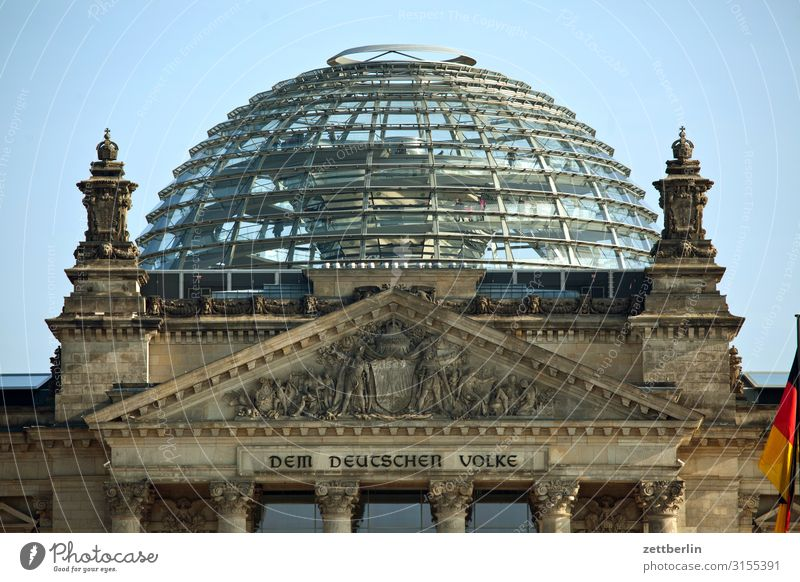 The dome of the Reichstag Architecture Berlin Germany German Flag Capital city Parliament Government Seat of government Government Palace Spree Spreebogen