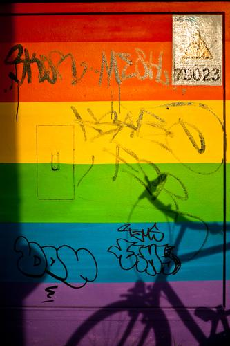 Transformer box no. 78023 Downtown Wall (barrier) Deserted Schöneberg Town Copy Space City life Wall (building) Colour Rainbow Multicoloured Progress