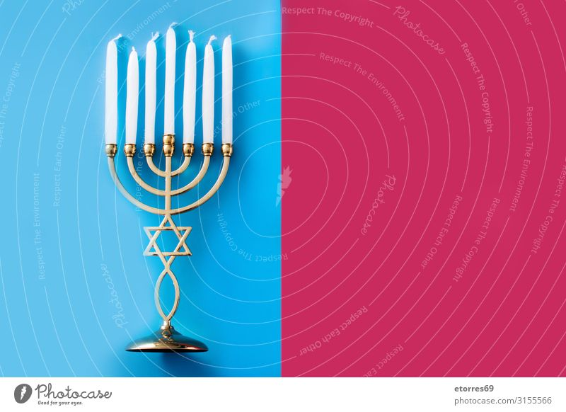 Jewish Hanukkah menorah background Blue candelabrum Candle Feasts & Celebrations Culture david December Decoration Festive Gold greeting hanukkah Hebrew