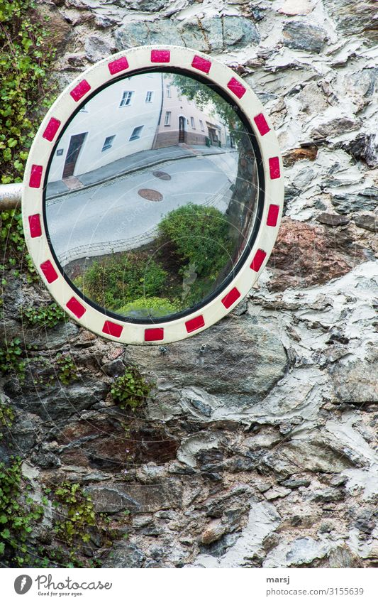 in retrospect Wall (barrier) Wall (building) Stone wall City wall traffic mirrors Mirror Old House wall Reflection Street Overview Review Safety Colour photo