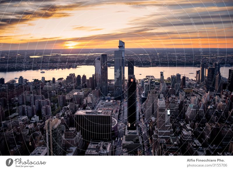 View across New York City at midtown Manhattan Sky Vacation & Travel Street Architecture Building Office Modern Vantage point High-rise USA Skyline Illuminate