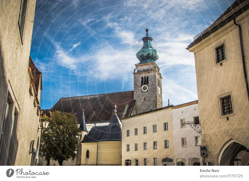 Leave the church in Mühldorf mill village Germany Village Old town Church Vacation & Travel Inn Church spire Colour photo Exterior shot Day