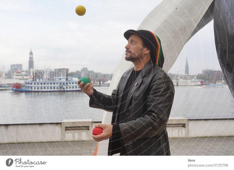 jouleur Tourism Trip City trip Masculine Man Adults Life 1 Human being 30 - 45 years Hamburg Port of Hamburg House (Residential Structure) Landmark