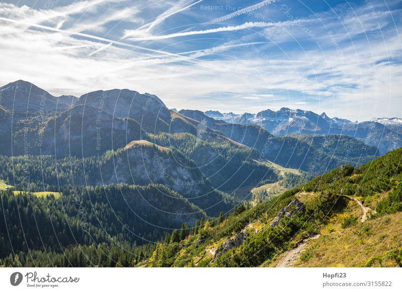 Alps in the Berchtesgaden region Environment Nature Landscape Plant Sky Clouds Sun Autumn Beautiful weather Tree Grass Forest Rock Mountain Peak Snowcapped peak