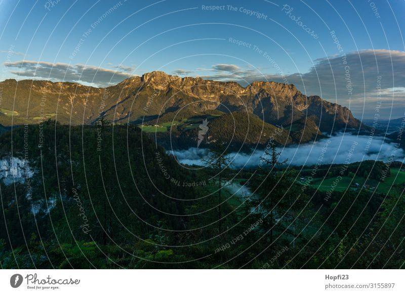 Alps in the Berchtesgaden region Environment Nature Landscape Plant Sky Clouds Sun Autumn Fog Tree Grass Forest Rock Mountain Peak Diet Fitness Going Walking