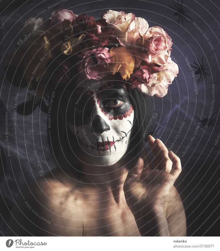 beautiful girl with traditional mexican death mask Beautiful Face Make-up Feasts & Celebrations Hallowe'en Woman Adults Art Autumn Flower Fashion Dark Red Black