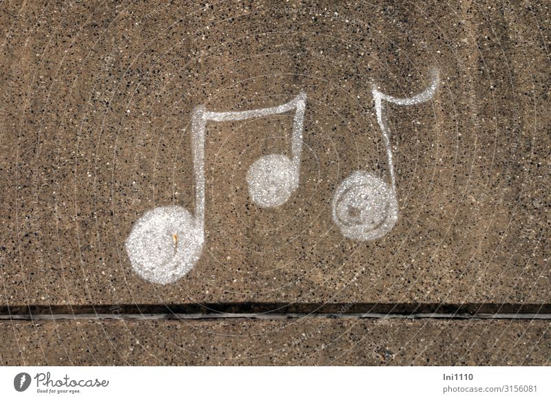 Sheet music | UT Hamburg Decoration Port City Factory Harbour Wall (barrier) Wall (building) Blue Gold Black White Musical notes Mural painting Chalk Spray Joy