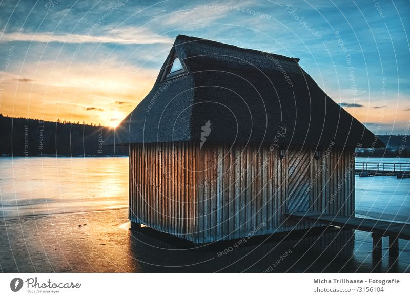 Hut at the lake in the sunset Vacation & Travel Tourism Winter Nature Landscape Water Sky Clouds Sun Sunrise Sunset Sunlight Beautiful weather Ice Frost Lake