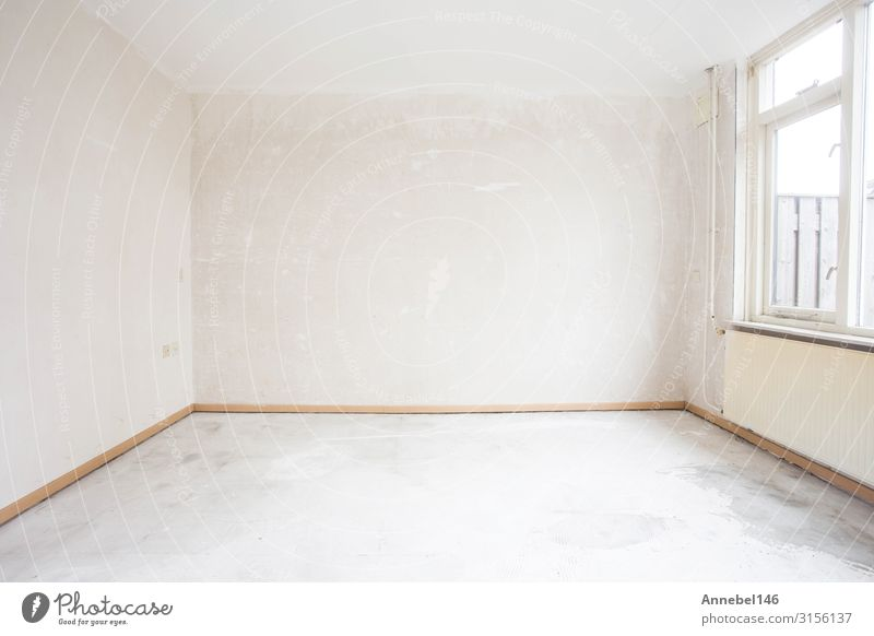 Unfinished building interior, detail of a white room. Flat (apartment) House (Residential Structure) Building Architecture Concrete Wood Old Authentic Fresh