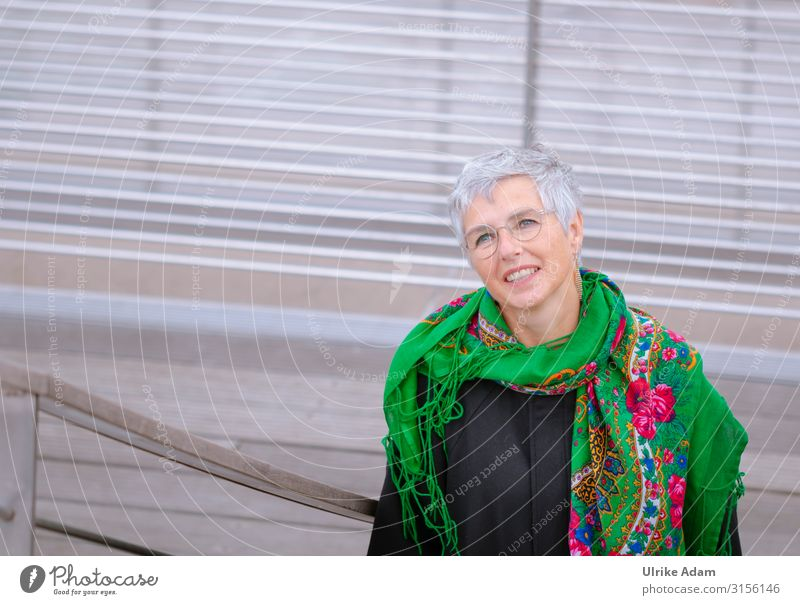 All the way up? Feminine Woman Adults Female senior Senior citizen 1 Human being 45 - 60 years Hamburg Stairs Earring Eyeglasses Scarf Gray-haired Short-haired