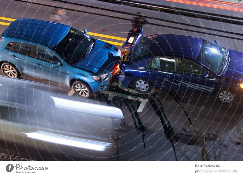 Overhead view of Car Crash, long exposure Trip Driving school Populated Road traffic Traffic accident Street Vehicle Argument Authentic Above Stress Perturbed