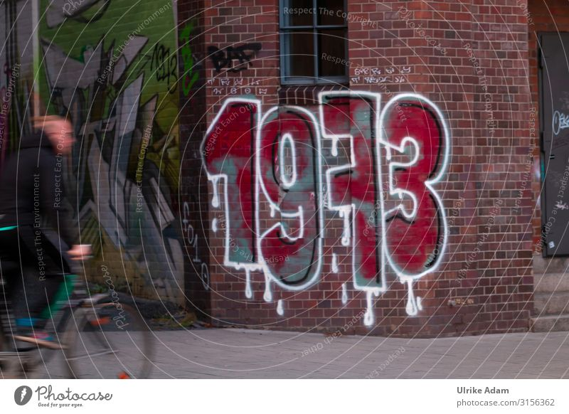 1973 Graffiti Hamburg Stone Sign Digits and numbers Drop Driving Exceptional Hip & trendy Crazy Red White Design Town Past Brick Wall (barrier) Cycling