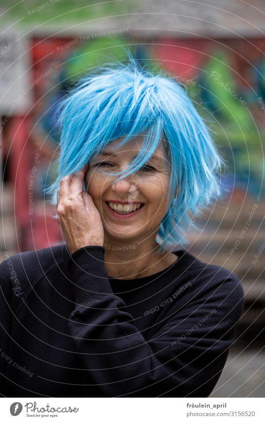 Laughter, life, powder blue 1 person Exterior shot Woman graffiti Portrait format Joie de vivre (Vitality) Wig fun daylight Blue Black urban already Attractive
