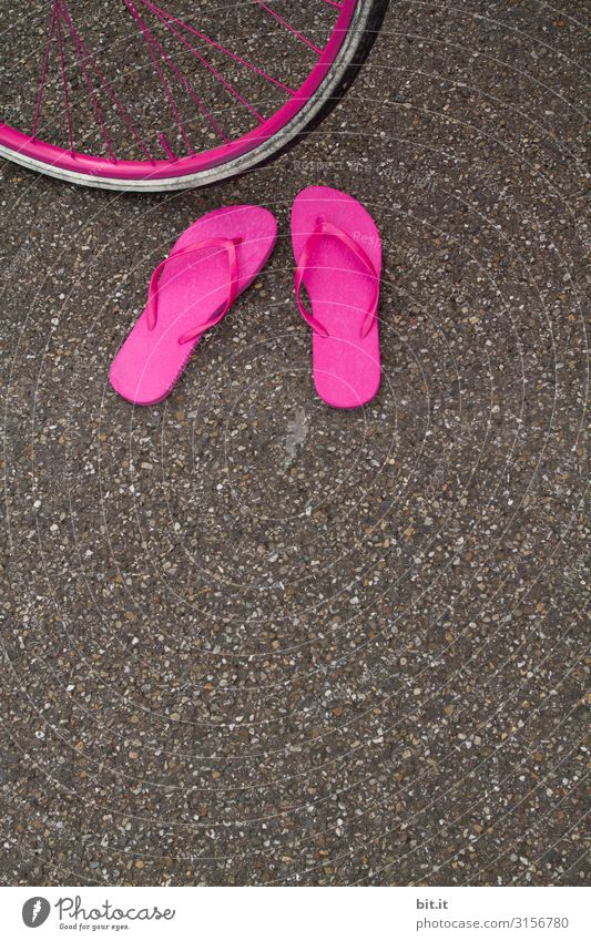 A pair of fancy pink flip flops, standing abandoned on the asphalt of the road in summer, in front of a pink bicycle tire, waiting for their owner.