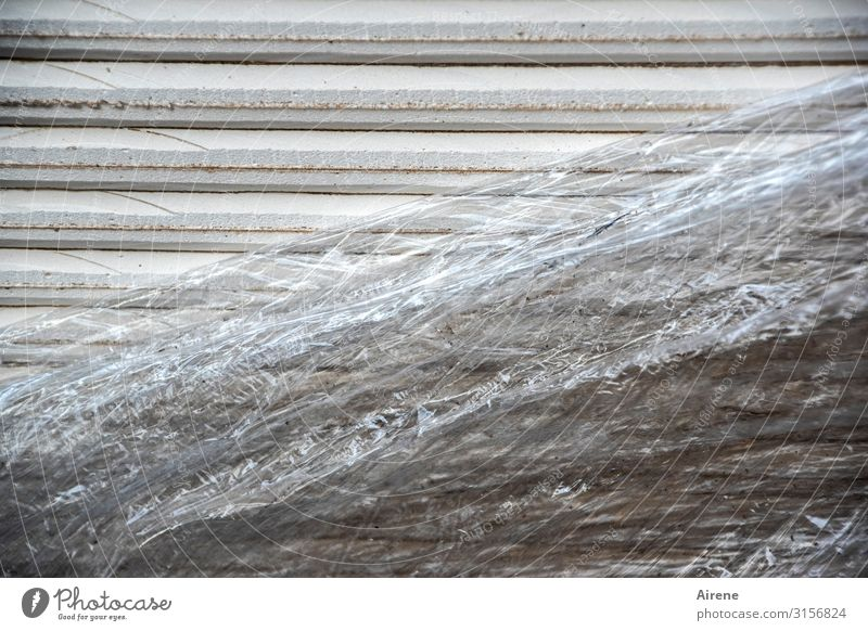 White Gray Line Climate Construction site Protection Stripe Plastic Trash Material Packaging Insulation Plastic packaging Hideous Grasp Responsibility