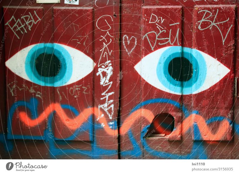 Blue White Red House (Residential Structure) Black Eyes Wood Wall (building) Wall (barrier) Facade Metal Door Characters Hamburg Sign Information
