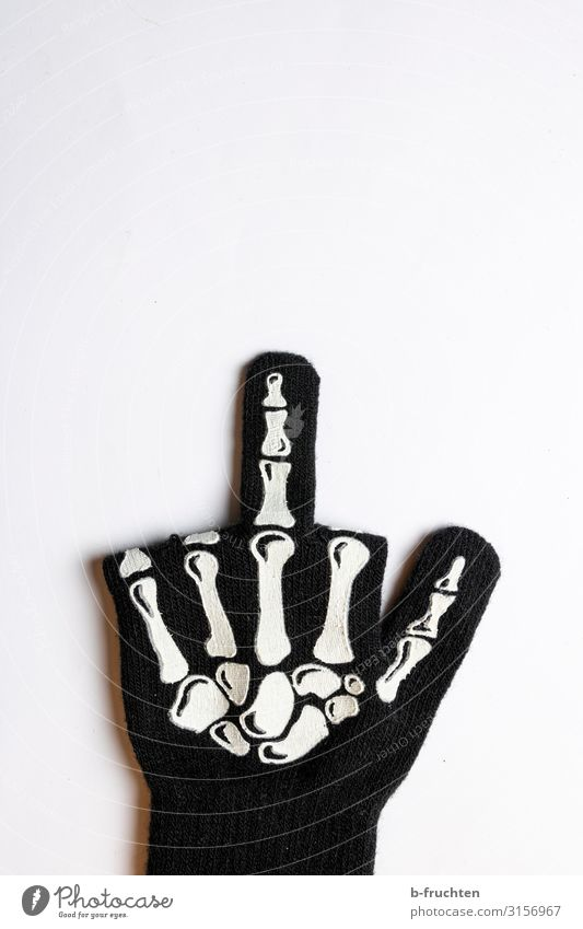 Fuck Halloween Feasts & Celebrations Hallowe'en Fingers Sign Brash Rebellious Black Give the finger Indicate Skeleton Hatred Symbols and metaphors Colour photo