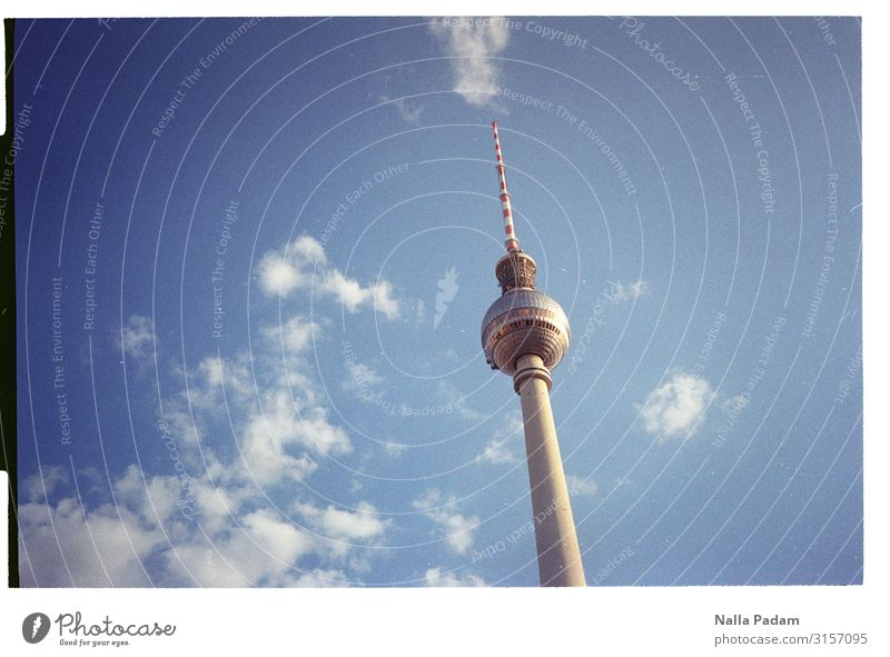 There issa Sky Clouds Berlin Germany Europe Capital city Deserted Tower Tourist Attraction Landmark Berlin TV Tower Wood Glass Looking Large Blue Gray White