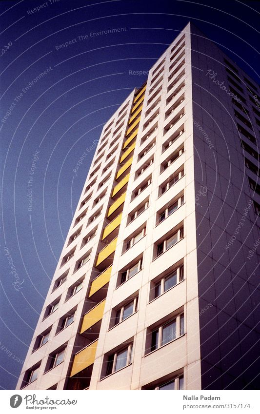 Blue White Yellow Berlin Downtown Berlin Germany Europe Capital city Deserted High-rise Manmade structures Building Architecture Prefab construction Facade
