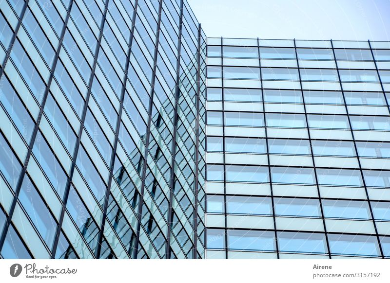 boring glass front | UT Hamburg High-rise Architecture Facade Glas facade Glass Line Large Bright Tall Cold Town Blue Black White Orderliness Esthetic Business
