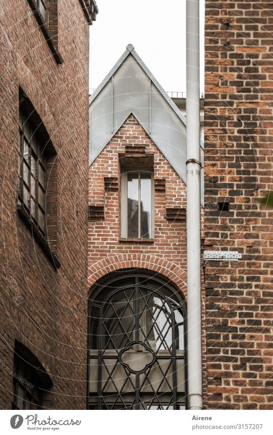 Old Town White Red House (Residential Structure) Window Dark Architecture Authentic Perspective Hamburg Attachment Old town Downtown Narrow Old building
