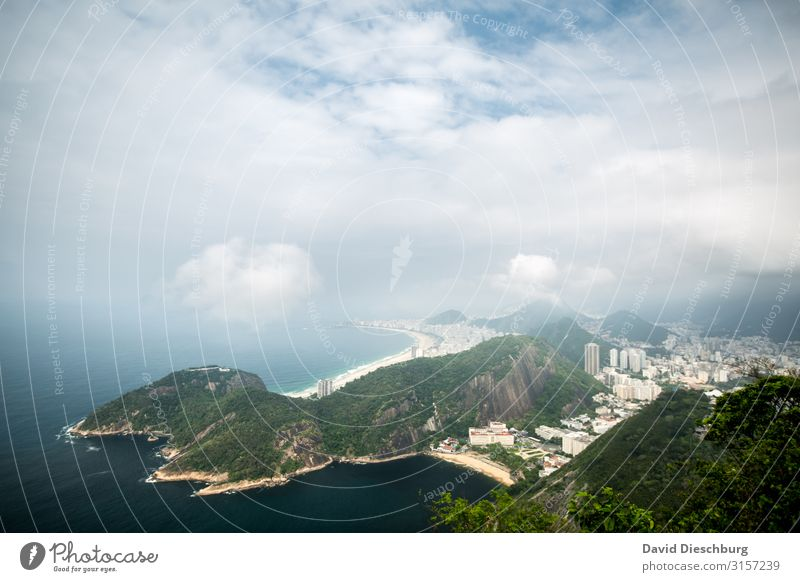 Rio De Janeiro Vacation & Travel Tourism Sightseeing City trip Landscape Clouds Beautiful weather Coast Beach Bay Ocean Town Overpopulated Blue Yellow Green