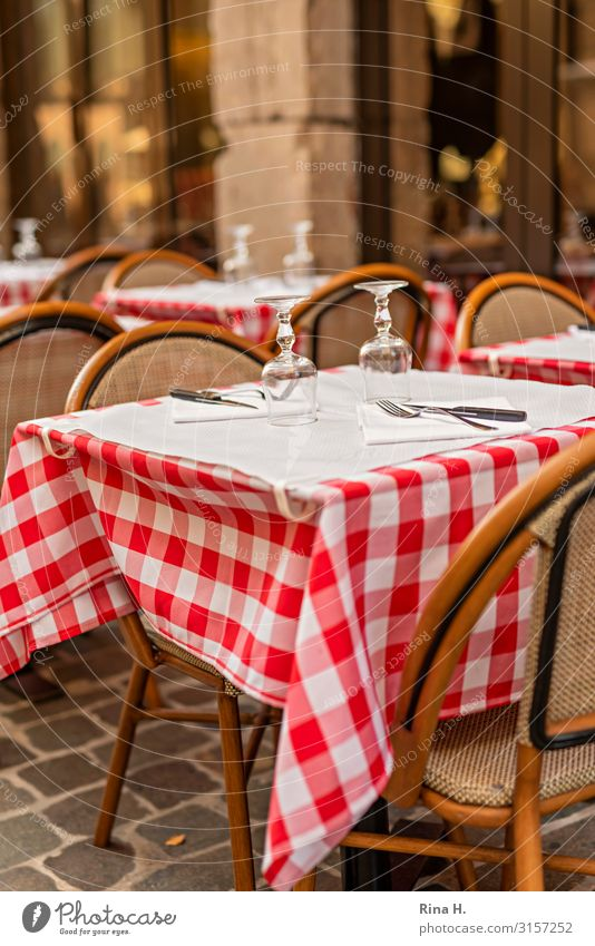 Joy Eating Lifestyle Happy Glass Table Joie de vivre (Vitality) Authentic Wait Drinking Chair Restaurant Terrace Checkered Tablecloth