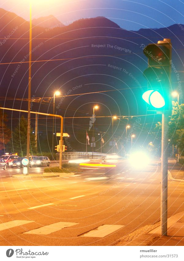 GIVE ME A GAAA Traffic light Green Transport Night Long exposure Things Street Mixture Car