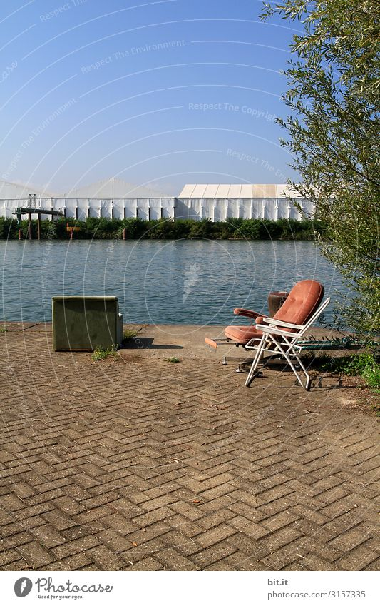 Old armchair and chair, on the Rhine in Basel. Calm Summer Water Sky Beautiful weather Architecture Loneliness River bank Armchair Chair Broken Retro