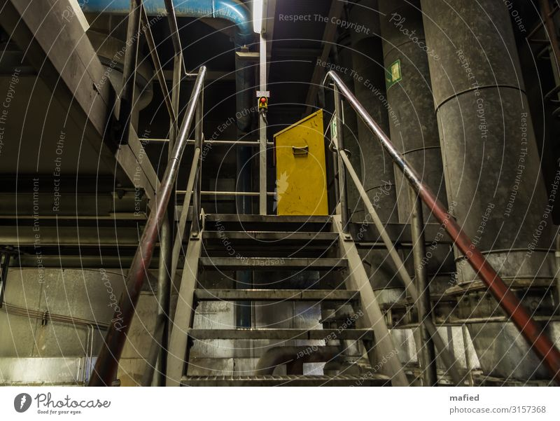 Emergency Off Energy industry Coal power station Industrial plant Building Stairs Steel Blue Yellow Gray Red Switch Pipe Colour photo Subdued colour