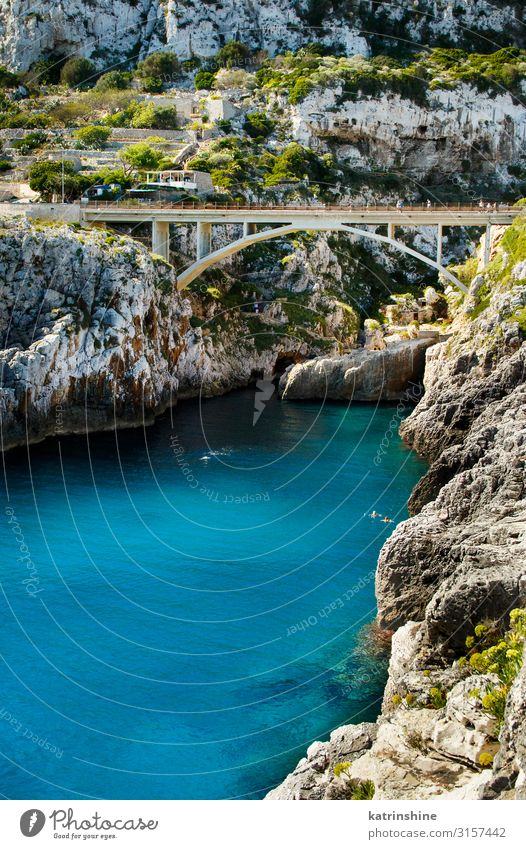 Panoramic view over the Ciolo bridge Beautiful Vacation & Travel Ocean Nature Landscape Coast Bridge Architecture Bright Blue ciolo Apulia Cliff panoramic
