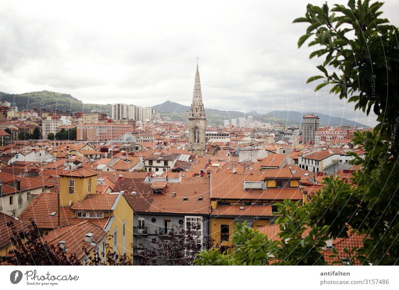 Above the roofs of Bilbao Shopping Vacation & Travel Tourism Sightseeing City trip Nature Clouds Autumn Bad weather Tree Bushes Mountain Spain Town Downtown