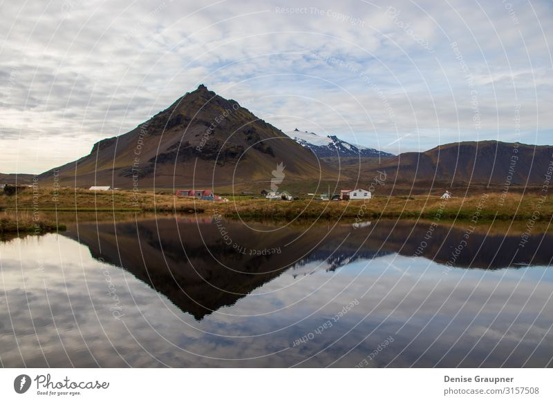 Mountains in Iceland are reflected in the water Vacation & Travel Tourism Trip Adventure Expedition Summer Winter Environment Nature Landscape Climate Weather