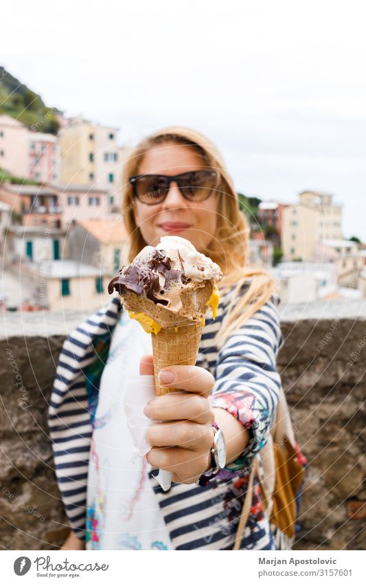 Young woman holding Italian gelato ice cream Woman Human being Vacation & Travel Youth (Young adults) Joy Eating Adults Feminine Tourism Europe Happiness