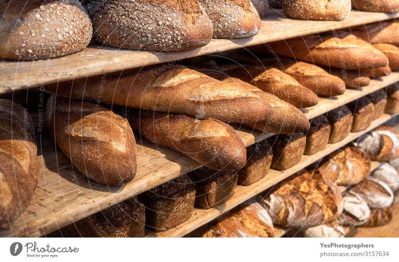 Bread variety on wooden shelves. Bakery goods. Freshly baked Roll Nutrition Breakfast Yellow Tradition assortment background Baked goods Banner basic food