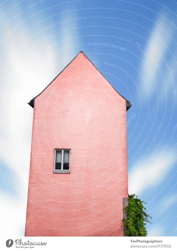 Pink house with just one window against ble sky Culture House (Residential Structure) Dream house High-rise Building Architecture Facade Old Exceptional Funny