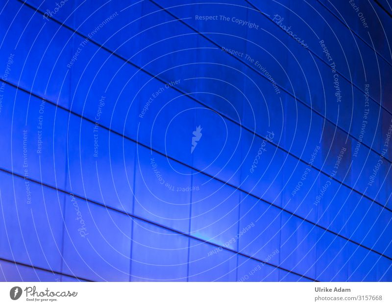 blue Design Hamburg Germany Town Subway station Wall (barrier) Wall (building) Tile Glittering Illuminate Blue Colour Light Background picture Symmetry