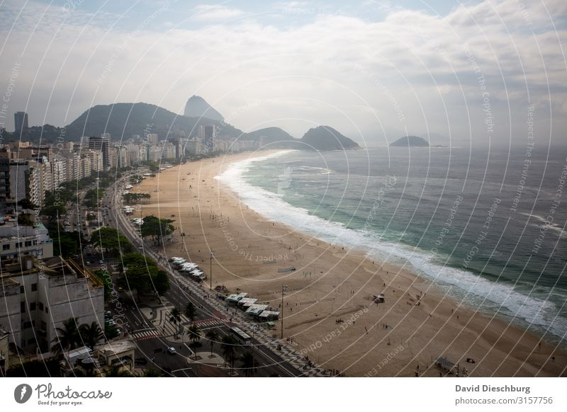 Copacabana Vacation & Travel Tourism Far-off places Sightseeing City trip Summer vacation Sun Landscape Beautiful weather Hill Coast Ocean Town
