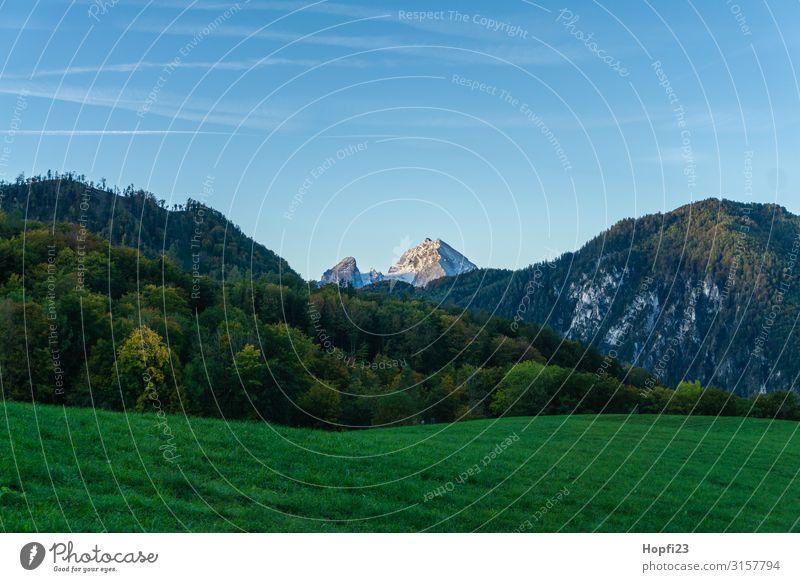 Alps in the Berchtesgaden region Environment Nature Landscape Plant Sky Cloudless sky Sun Autumn Beautiful weather Tree Grass Rock Mountain Peak Snowcapped peak