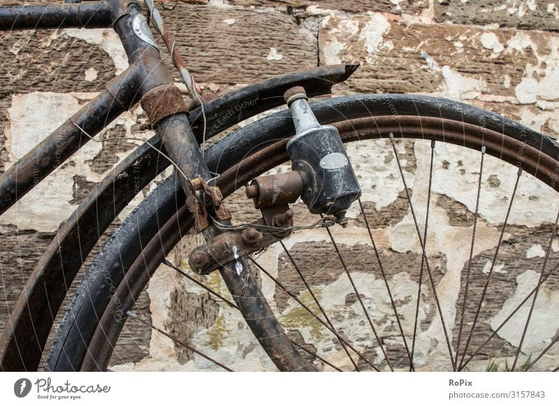 Detail of a historical bicycle. bike Wheel Bicycle Transport Nostalgia Vehicle Tradition Movement Wall (building) rampart England Lock castle History of the