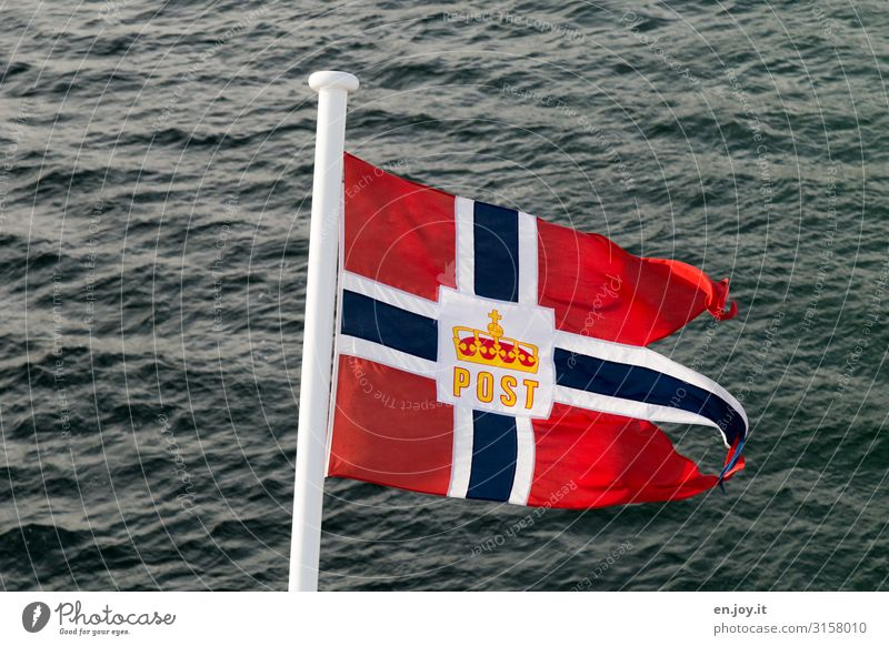 You have mail Vacation & Travel Cruise Ocean Norway Lofotes Scandinavia Navigation Passenger ship Cruise liner Flag Adventure Relaxation Experience Tourism