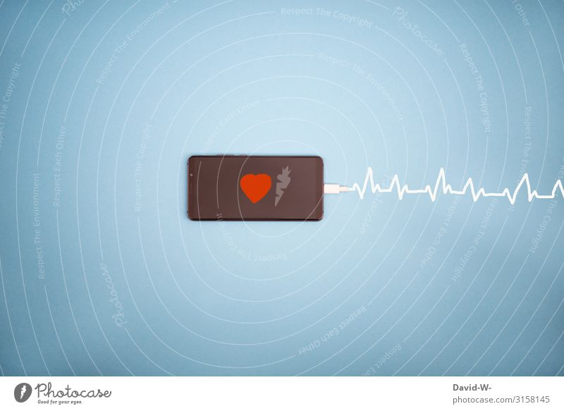 vital - the mobile phone lives Cellphone Life vivacious Load charger cable Energy Heart Addiction Dependence