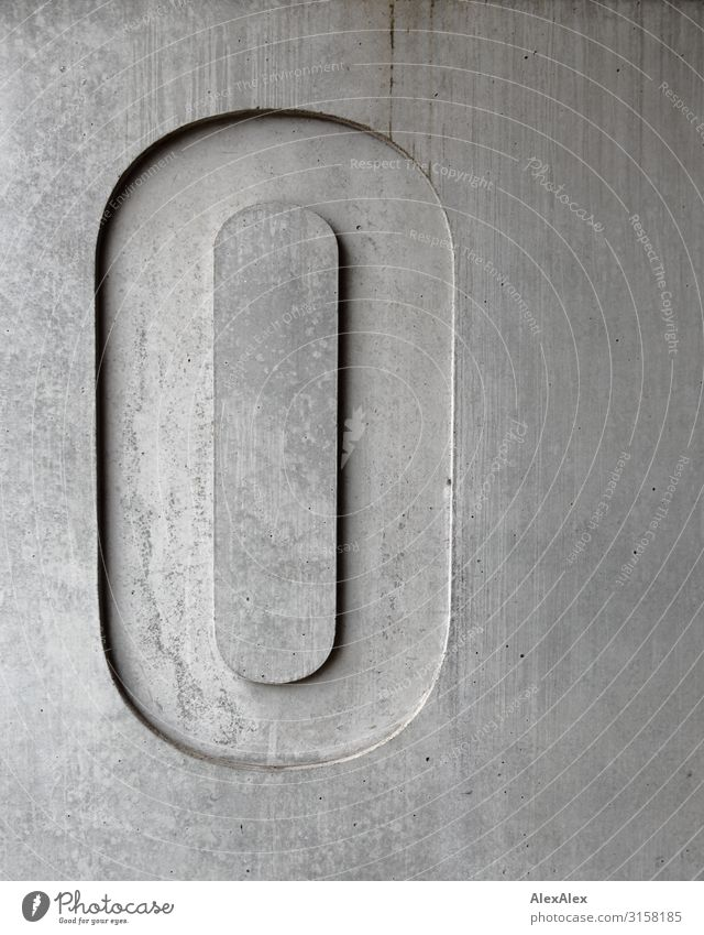 HH UT 19 | Grey Zero - Big Zero in Concrete 0 Digits and numbers O Facade Wall (building) Wall (barrier) Shadow Line Structures and shapes Clean Pure clear Gray