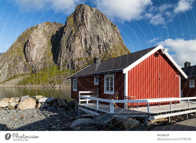 sense of well-being Vacation & Travel Freedom Nature Landscape Sky Sunlight Beautiful weather Rock Mountain Fjord Reinefjorden Hamnöy Norway Lofotes Scandinavia