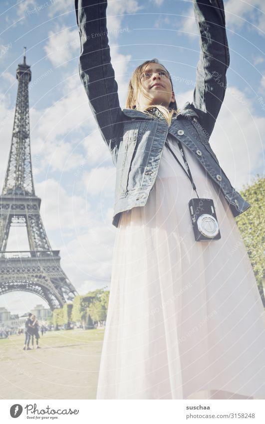 selfie in paris Child Girl Vacation & Travel Trip Town Paris Eiffel Tower France Tourist Tourism Selfie Photography Cellphone Camera Arm Building Landmark