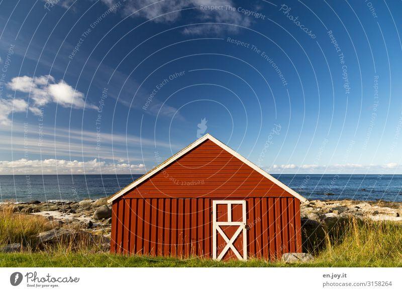 Sky Vacation & Travel Nature Summer Landscape Red Ocean Environment Coast Grass Facade Rock Horizon Door Idyll Beautiful weather