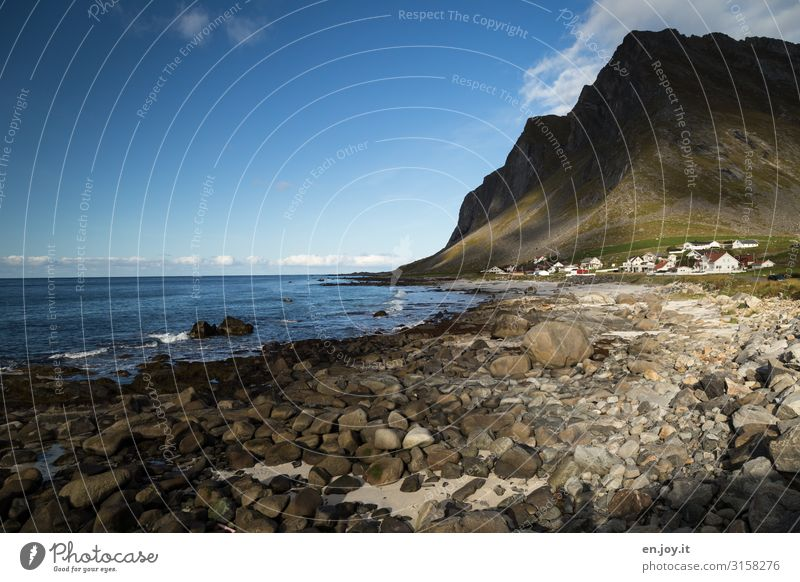 Light and shadow Vacation & Travel Tourism Trip Far-off places Beach Ocean Environment Nature Landscape Sky Rock Mountain Coast Island Lofotes Norway